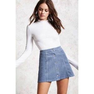 Blue Grey Soft Velour Corduroy Button Mini Skirt